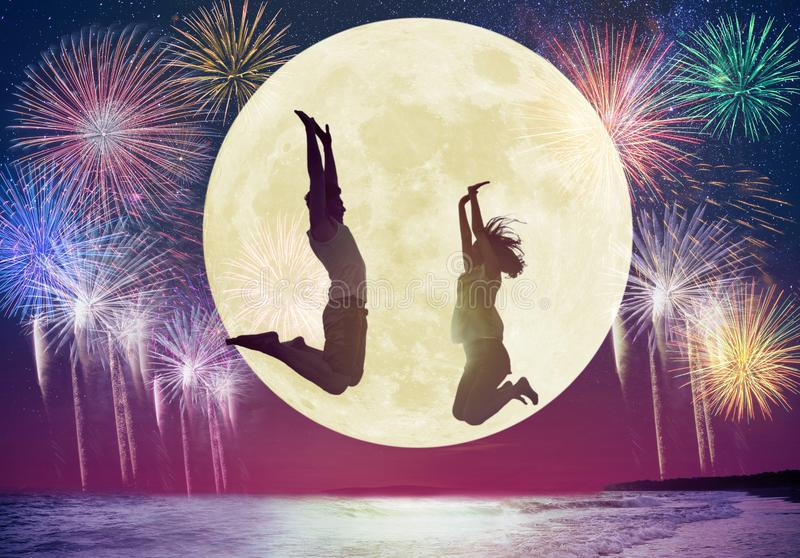 couple jumping on beach and watching the moon.Celebrate Mid autumn festival concepts royalty free illustration