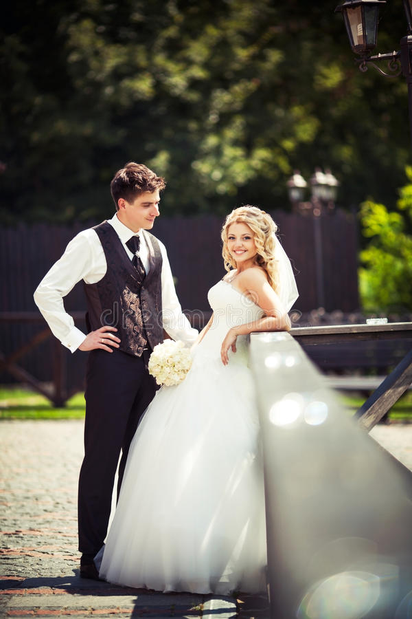 Young couple just married royalty free stock image