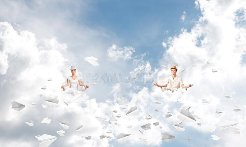 Young couple keeping mind conscious. stock images