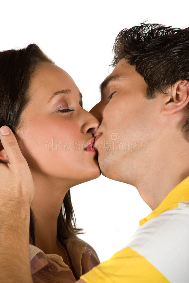 Download Young couple kissing stock image. Image of eyes, attraction - 9175825