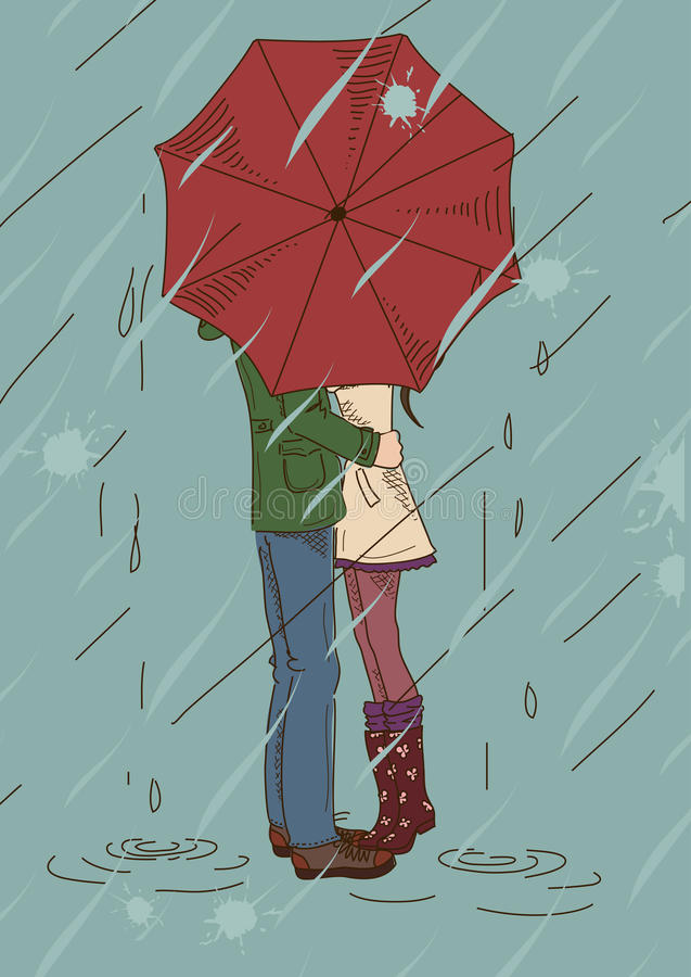 Download Young Couple Kissing Under An Umbrella Stock Vector - Illustration of love, lovers: 32913345