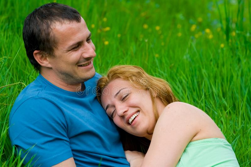 Download Young couple laughing stock photo. Image of meadow, peaceful - 6777990
