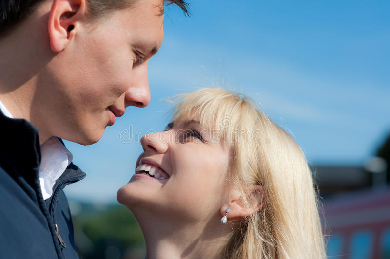 Download Young couple in love stock photo. Image of outdoors, face - 26417668