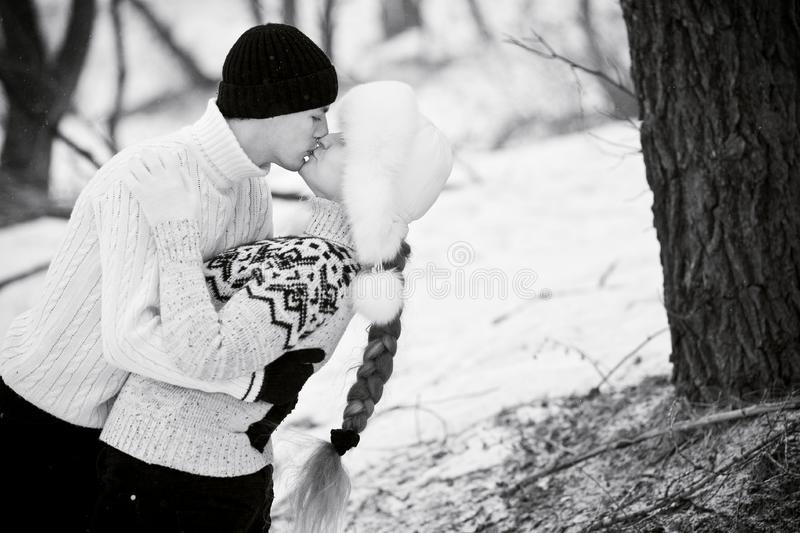 Young couple in love (B/W)