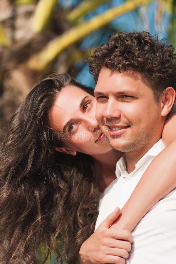Young couple in love having fun and enjoying the beautiful nature stock image