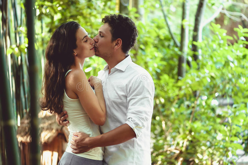 Young couple in love having fun and enjoying the beautiful nature royalty free stock photos