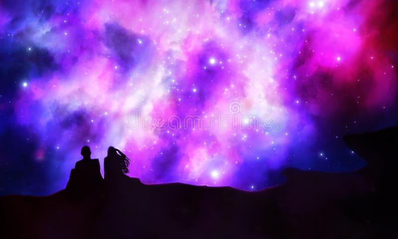 Young Couple In Love Looking Up To The Universe stock illustration