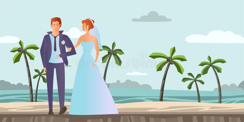 Couple in love. Young man and woman at the wedding on a tropical beach with palm trees. Vector illustration. Young couple in love. Man and woman at the wedding royalty free illustration