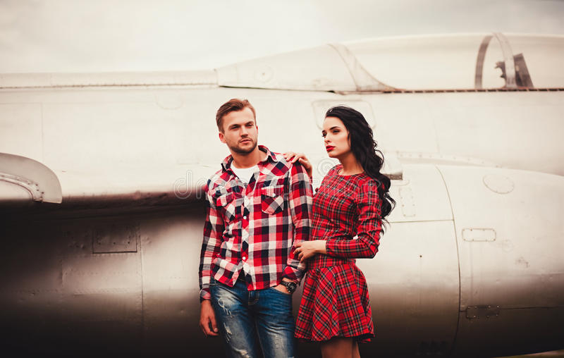 Young couple in love outdoor. portrait of young stylish fashion stock photo