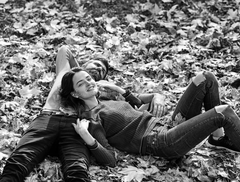 Young couple in love outdoor. Stylish fashion couple in park royalty free stock photography