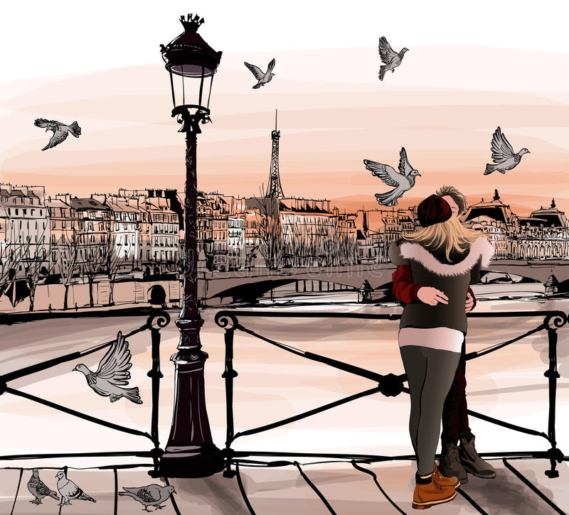 Young couple in love on Pont des arts in Paris. Vector illustration royalty free illustration