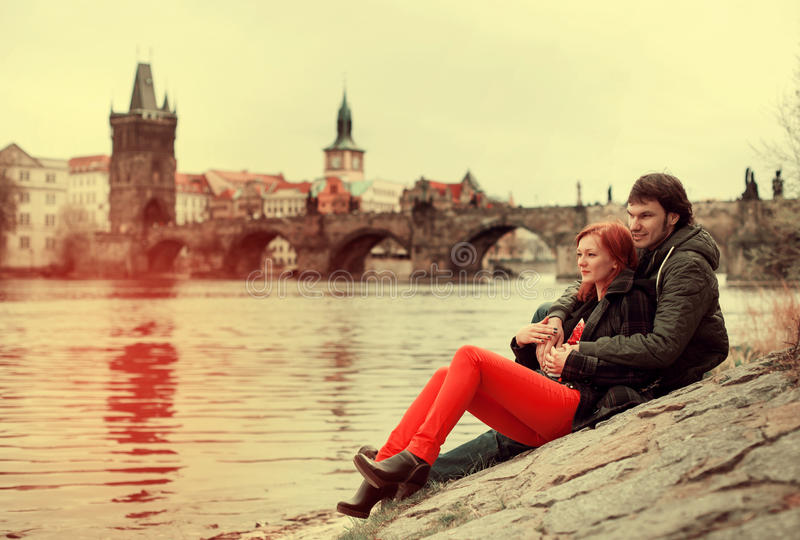 Young couple in love. Prague, Czech Republic, Europe. royalty free stock photo