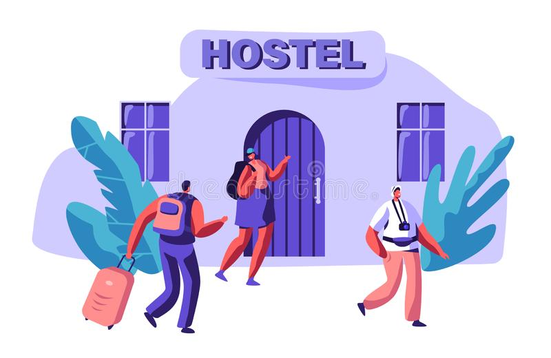 Young Couple in Love Rent Economy Apartment. Man and Woman Character Arrive to Hostel Building with Bag. International Travel. Concept. People Booking Hotel for stock illustration