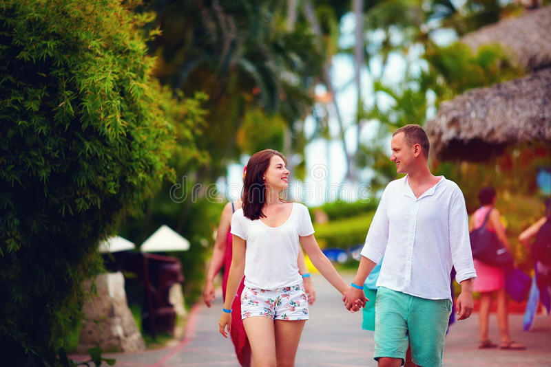 Young couple in love on vacation royalty free stock photo