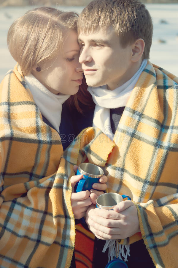 Young Couple In Love, Winter Drink Tea Stock Images