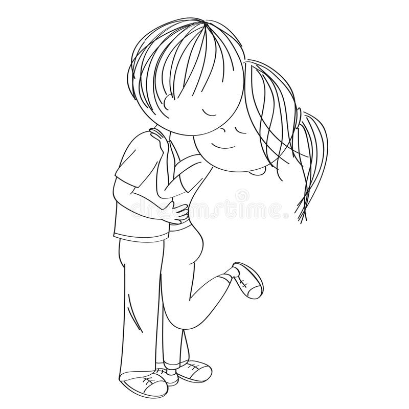 Young couple of lovers standing, hugging and kissing. Original hand drawn illustration.  royalty free illustration