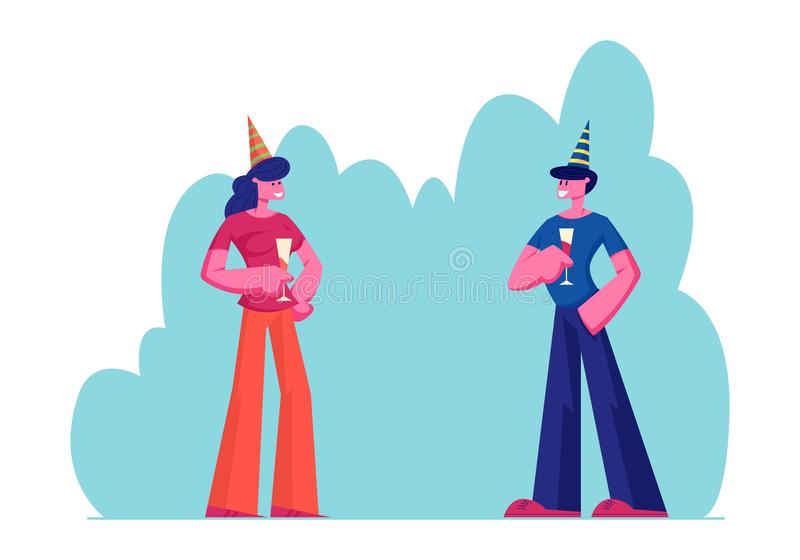 Young Couple Man and Woman Holding Glasses with Beverages Celebrating Holiday Drinking Alcohol Cocktail Flirting. And Communicating on Birthday Party or Festive vector illustration