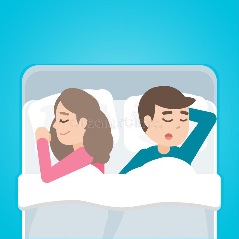 Young couple man and woman sleeping in bed together. Vector cartoon illustration royalty free illustration
