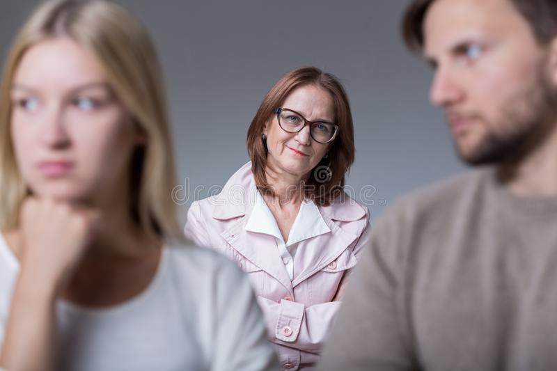 Young couple on marital therapy. Image of young couple with problems on marital therapy royalty free stock images