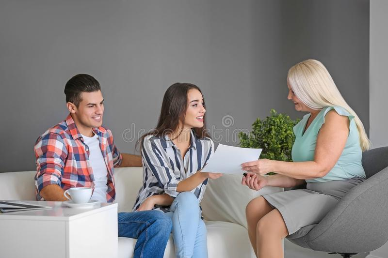 Young couple meeting with consultant royalty free stock photos