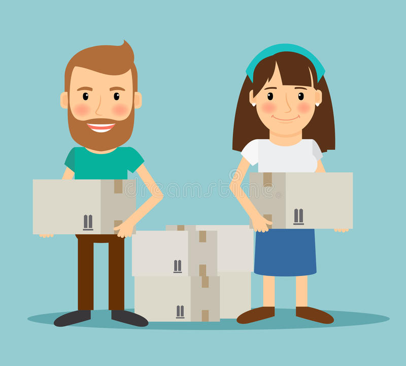 Young couple moving stock illustration