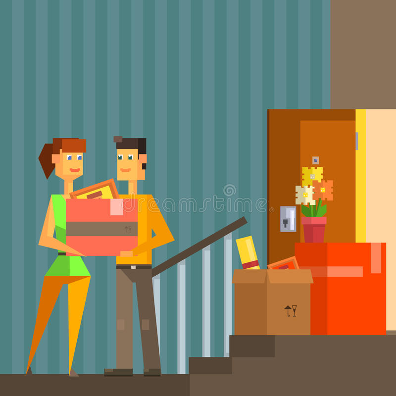 Young Couple Moving Into New Apartement Pixelated Illustration royalty free illustration
