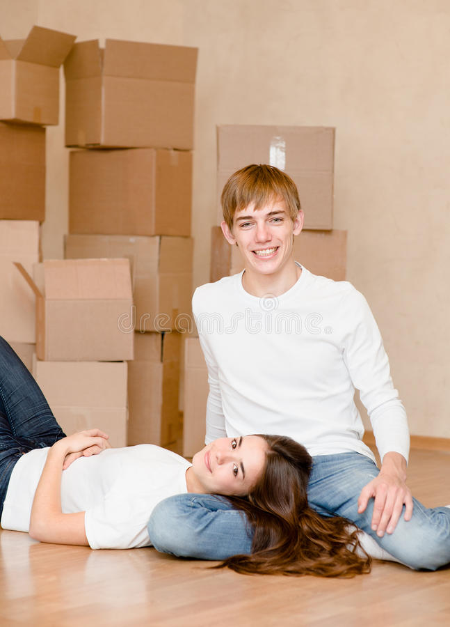 Young couple in new home.  royalty free stock images
