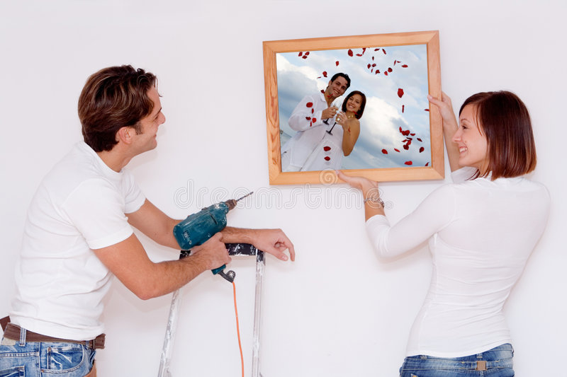 Young couple new home improvements royalty free stock image