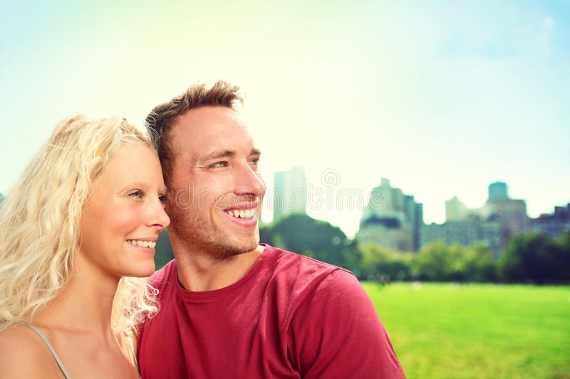 Young couple in New York City, Central Park stock images