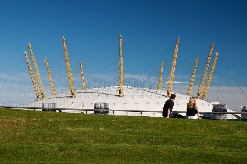 Young couple at the O2 arena. royalty free stock photo