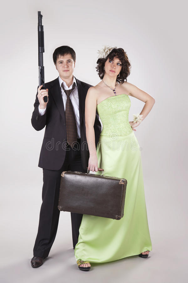 Download Young Couple Of Old Style Robbers Stock Image - Image: 17961297