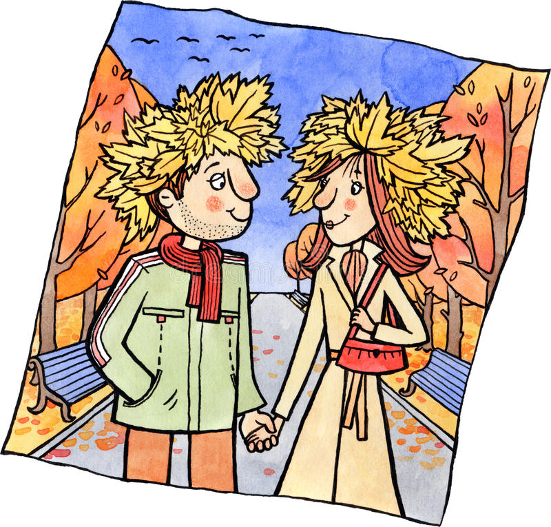 Free Young Couple On A Walk In The Autumn Park Stock Image - 36846011