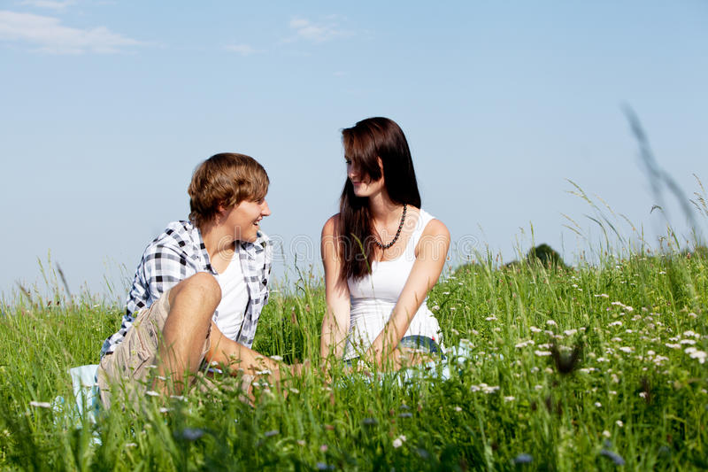 Download Young Couple Outdoor In Summer On Blanket Stock Photo - Image: 26063124
