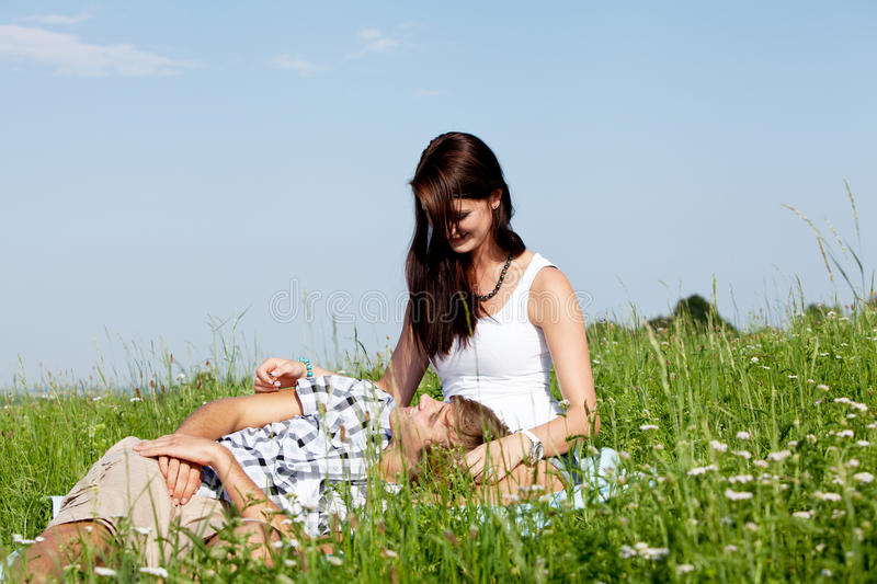 Download Young Couple Outdoor In Summer On Blanket Stock Photo - Image of beautiful, green: 26063150