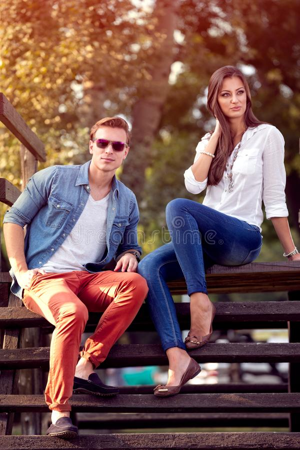 Young couple outdoors autumn royalty free stock photography