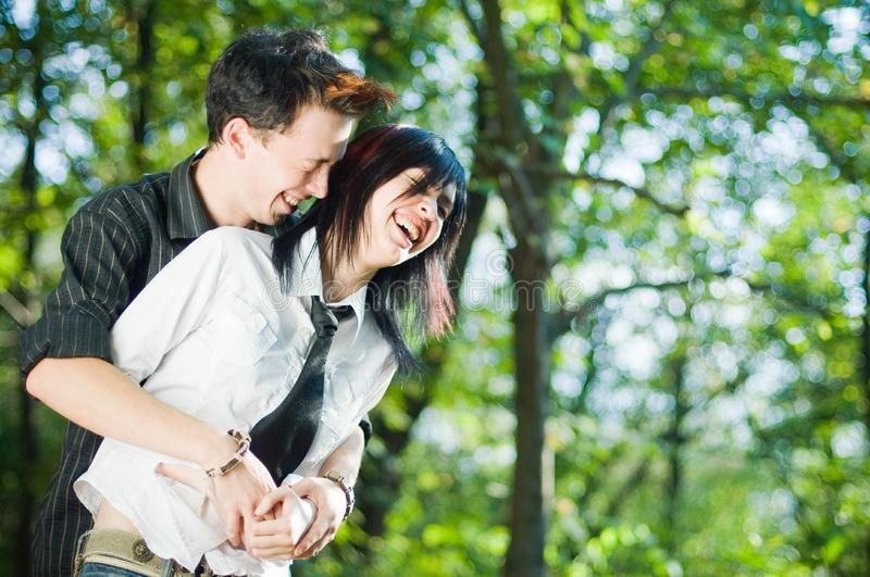 Young couple outside stock photography