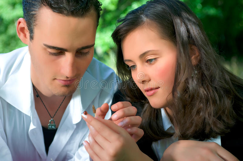 Young couple at park stock images