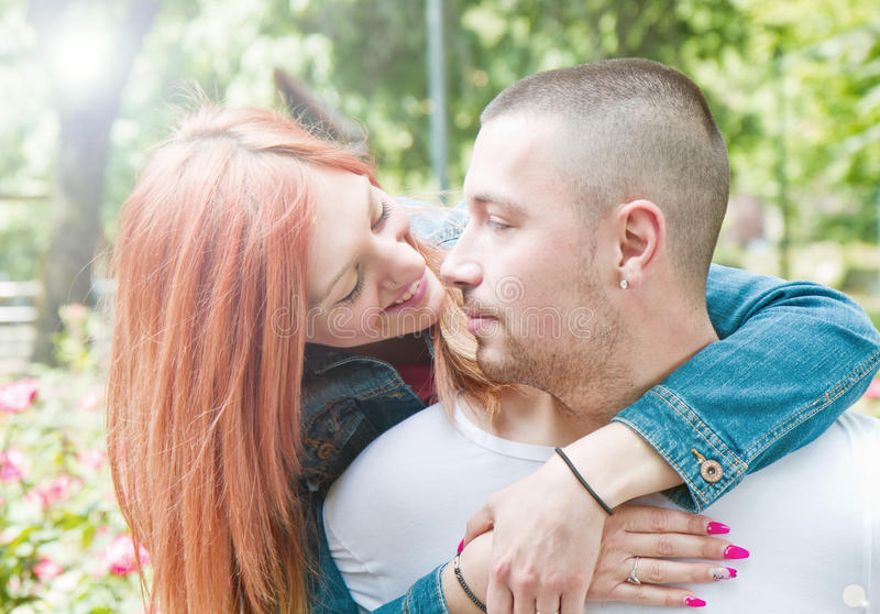 Young couple at the park stock photos