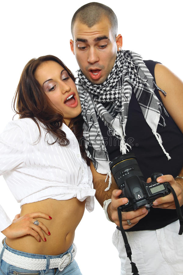 Download Young couple photographing stock image. Image of hands - 18303777