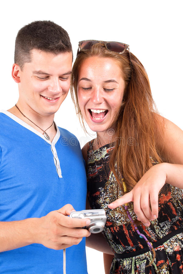 Young couple photographing royalty free stock images
