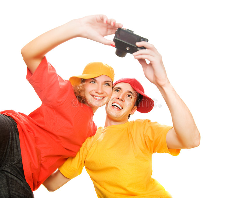 Download Young Couple Photographing Themselves Stock Photos - Image: 6636713