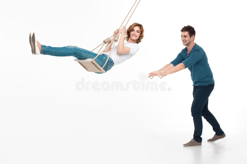 Young couple playing stock photos