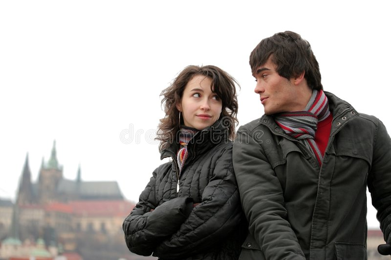 Young Couple in Prague stock photos