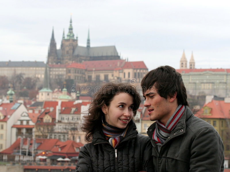 Young Couple in Prague stock image
