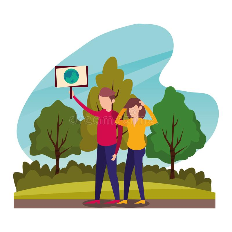 Young couple protesting with earth planet in label characters vector illustration
