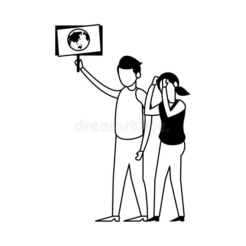 Young couple protesting with earth planet in label characters stock illustration