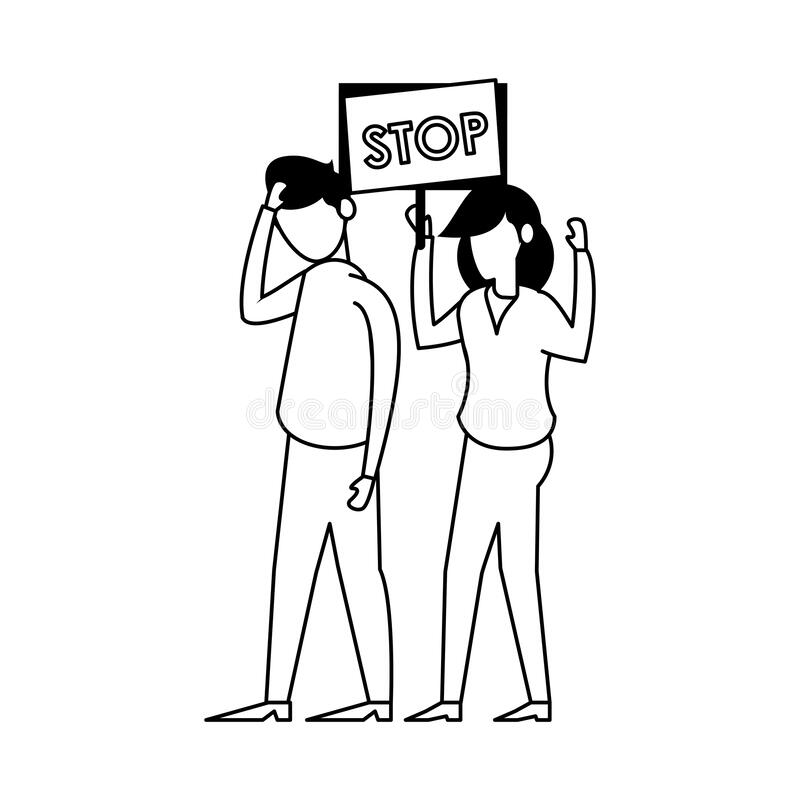 Young couple protesting with stop label characters vector illustration