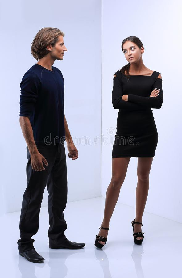 Young couple quarrel.concept of conflict. Photo in full growth.young couple fighting.the concept of conflict stock photos