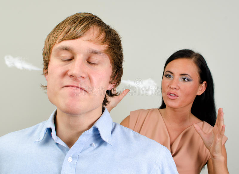 Young couple quarreling. royalty free stock image