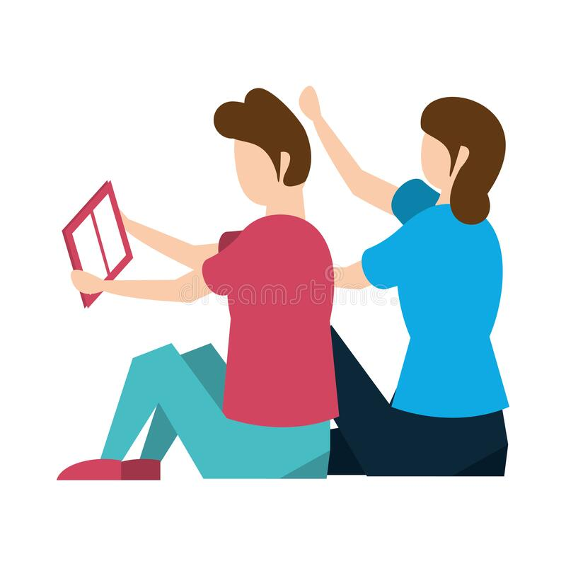 Young couple reading book characters vector illustration
